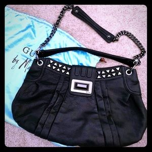 Edgy GUESS by Marciano Black Leather Shoulder Bag